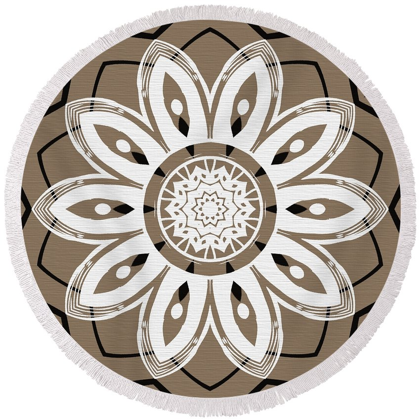 Intricate Round Beach Towel featuring the digital art Coffee Flowers 8 Olive Ornate Medallion by Angelina Vick