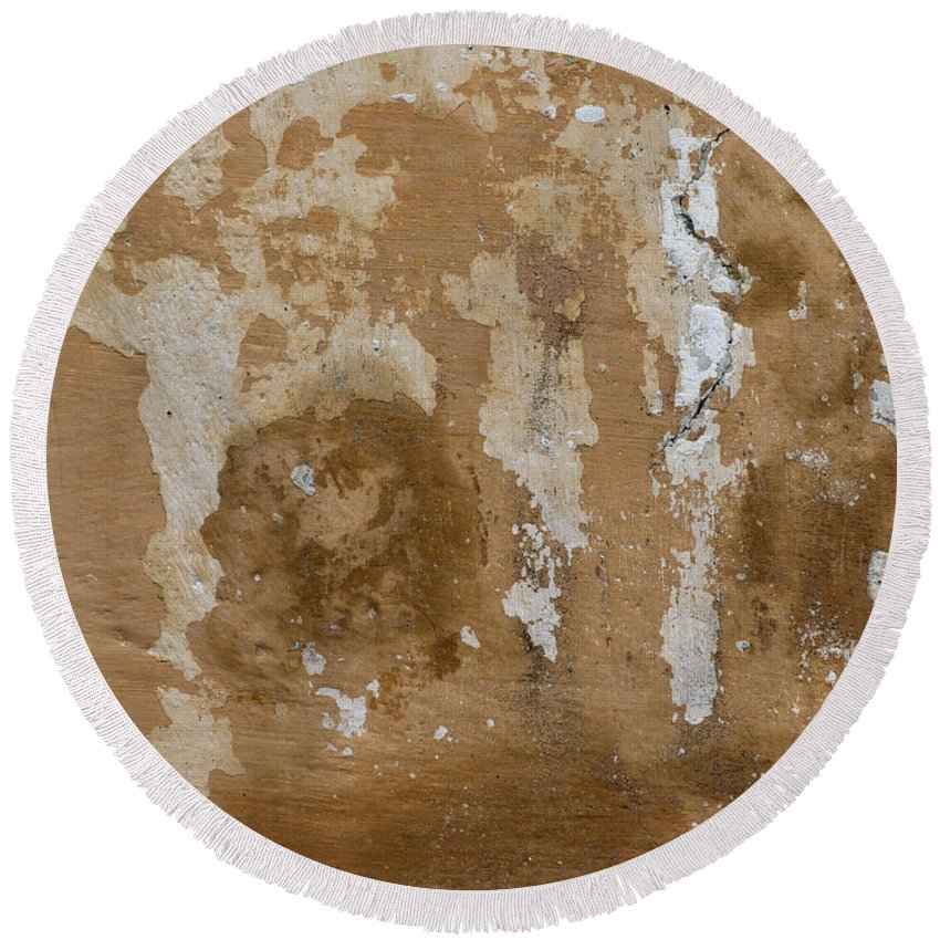 Plaster Round Beach Towel featuring the photograph Cracked Stucco by Michal Boubin