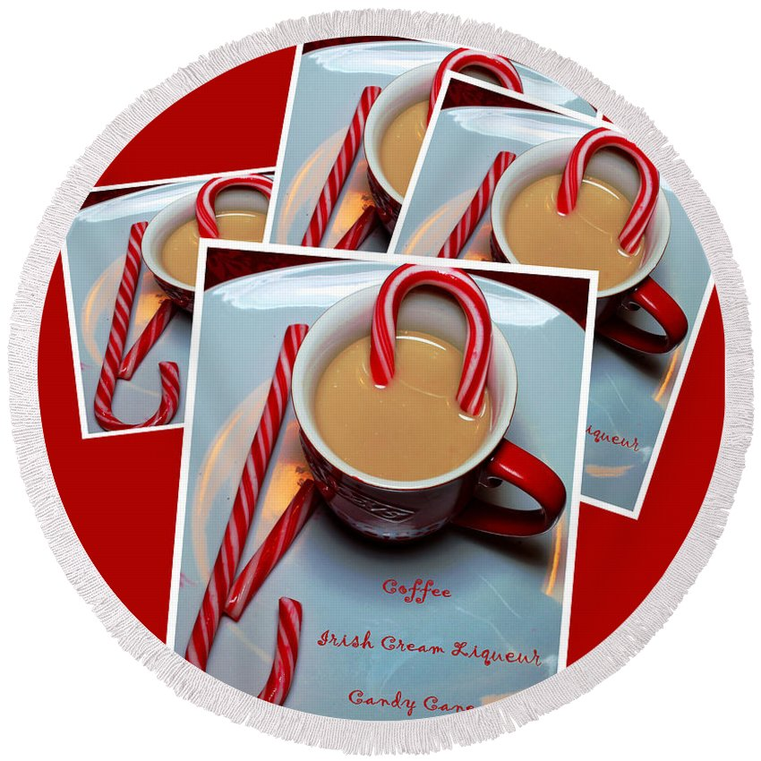 Cup Of Christmas Cheer Round Beach Towel featuring the photograph Cup Of Christmas Cheer - Candy Cane - Candy - Irish Cream Liquor by Barbara Griffin