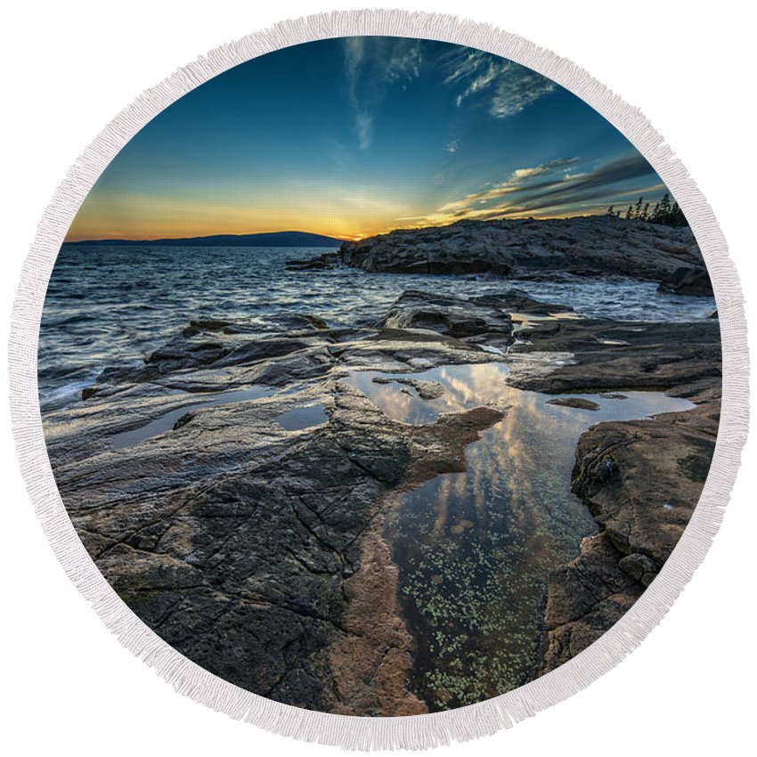 Schoodic Round Beach Towel featuring the photograph Day's End At Scoodic Point by Rick Berk