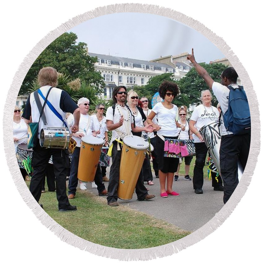 Dende Round Beach Towel featuring the photograph Dende Nation Samba Drum Troupe by David Fowler