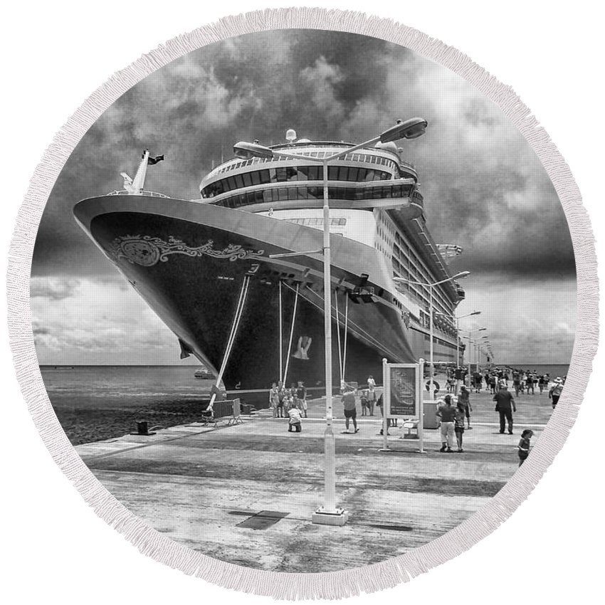 Seascape Photography Round Beach Towel featuring the photograph Disney Fantasy by Howard Salmon