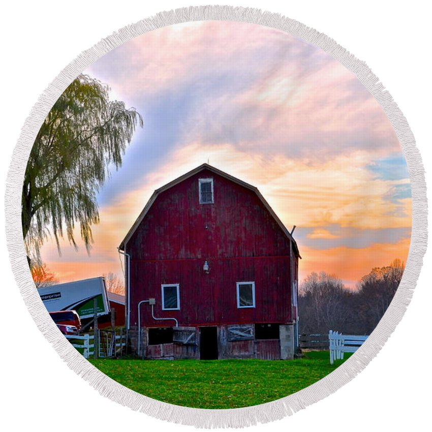Farm Round Beach Towel featuring the photograph Down On The Farm by Frozen in Time Fine Art Photography
