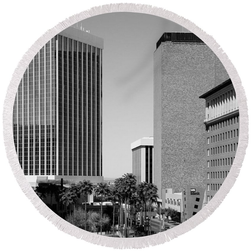 Black And White Round Beach Towel featuring the photograph Downtown Tucson Az by Bill Cobb