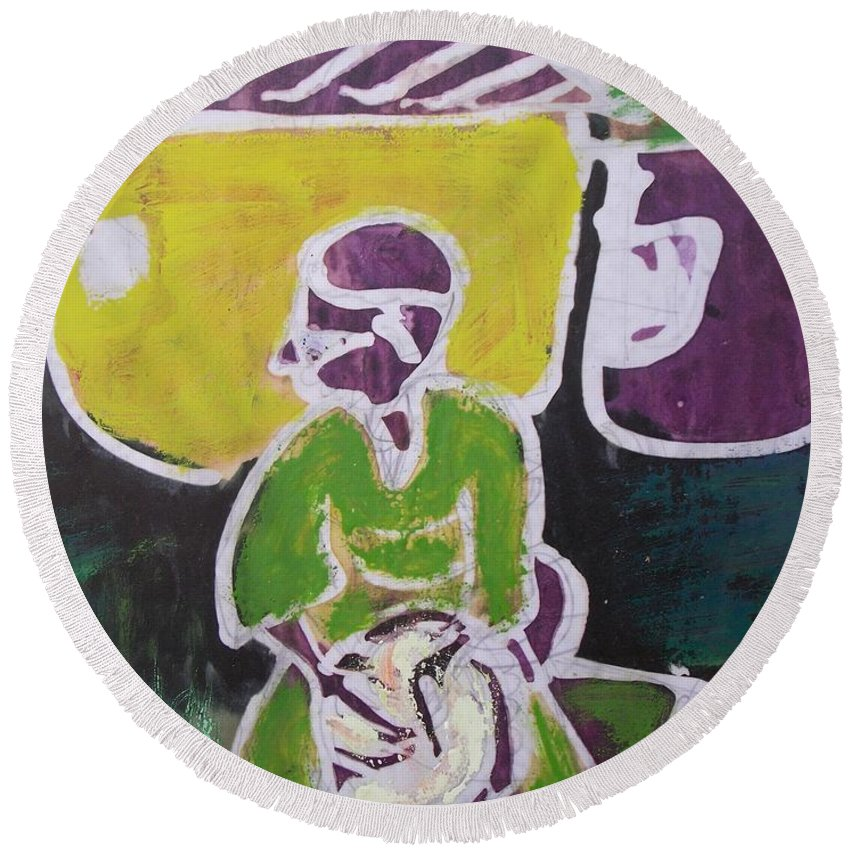 Drumming The Drum Round Beach Towel featuring the painting Drummer Boy In The Town by Okunade Olubayo