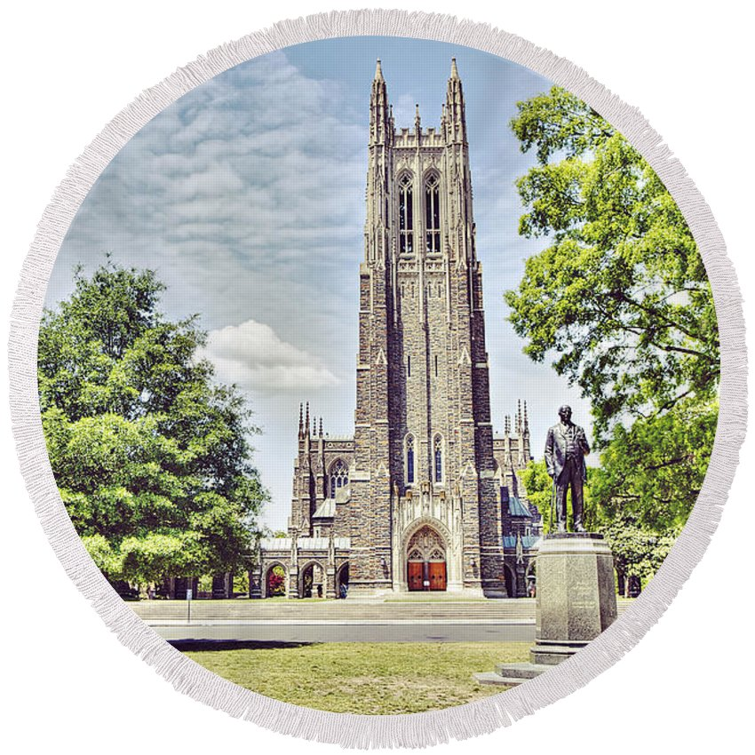 Duke University Round Beach Towel featuring the photograph Duke Chapel In Spring by Emily Kay