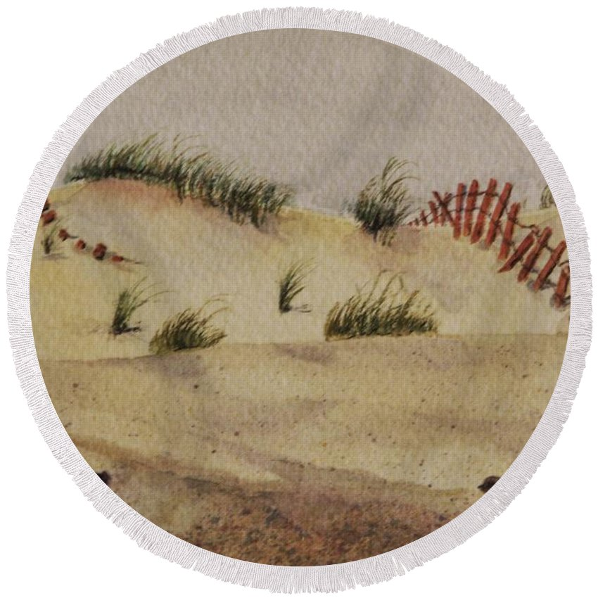 Sand Round Beach Towel featuring the painting Dunes by Mary Ellen Mueller Legault