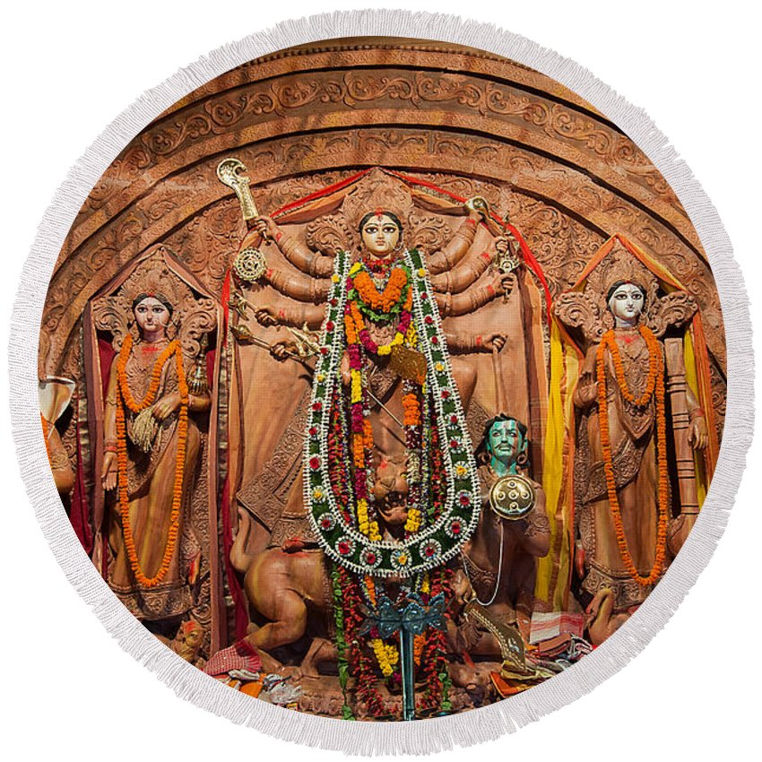 Durga Round Beach Towel featuring the photograph Durga Puja Festival by Rudra Narayan Mitra