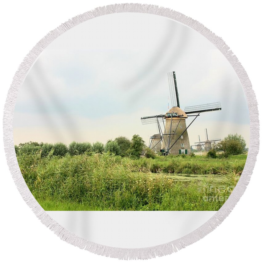 Holland Round Beach Towel featuring the photograph Dutch Landscape With Windmills by Carol Groenen