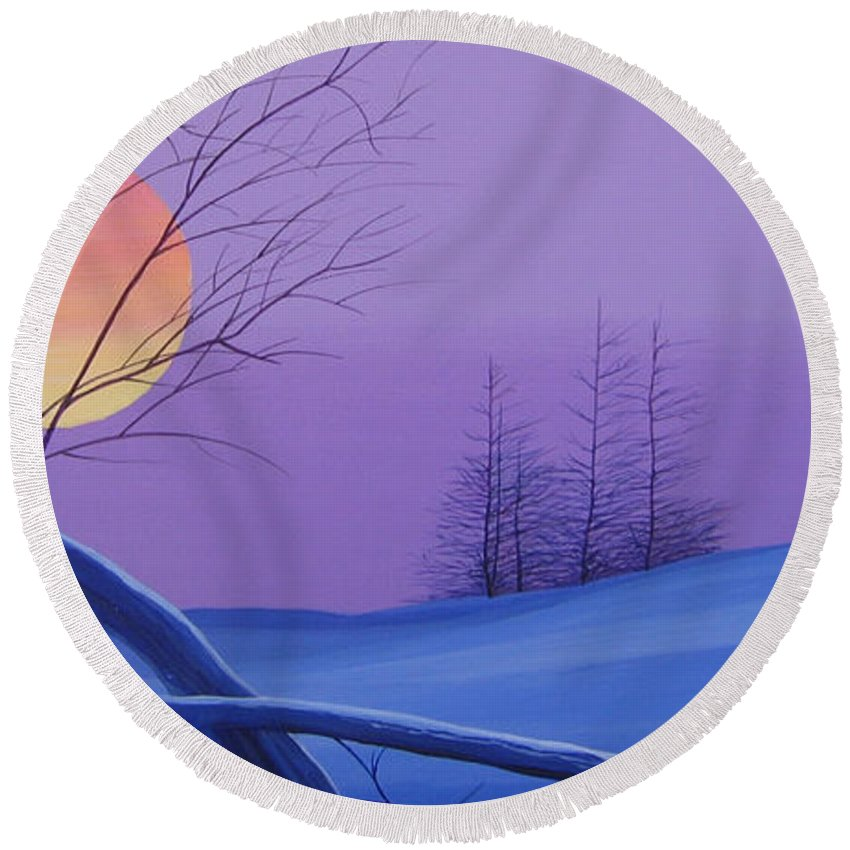 Mountains Round Beach Towel featuring the painting Silent Snow by Hunter Jay