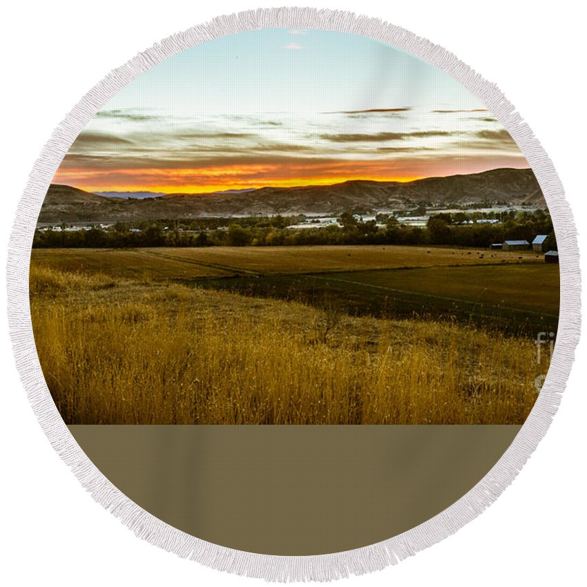 Gem County Round Beach Towel featuring the photograph East End Of Emmett Valley by Robert Bales
