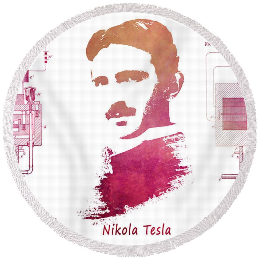 Electric Generator Round Beach Towel featuring the digital art electric generator patent art Nikola Tesla by Justyna JBJart