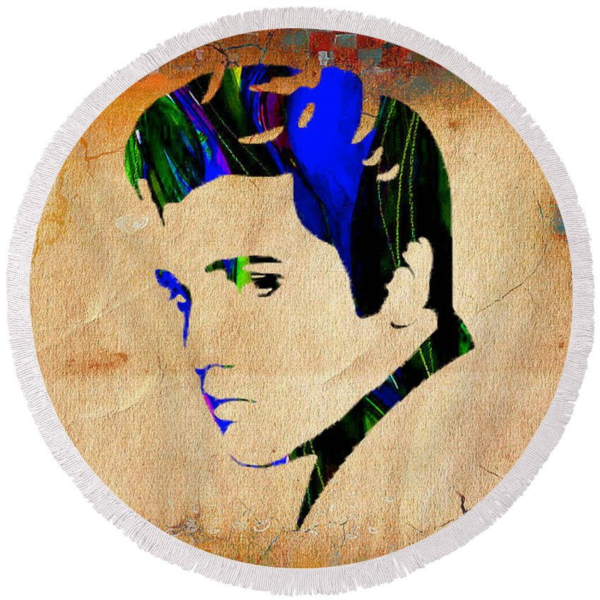 Elvis Art Round Beach Towel featuring the mixed media Elvis Presly Wall Art by Marvin Blaine