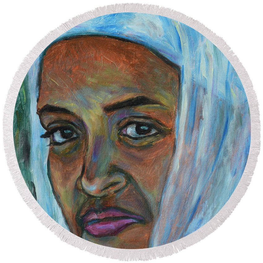 Ethiopian Round Beach Towel featuring the painting Ethiopian Lady by Xueling Zou