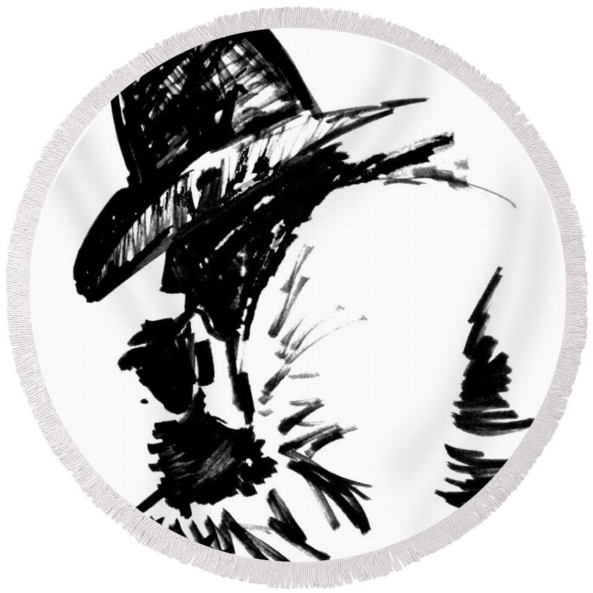 Exhausted Cowboy Round Beach Towel featuring the drawing Exhausted Cowboy by Seth Weaver