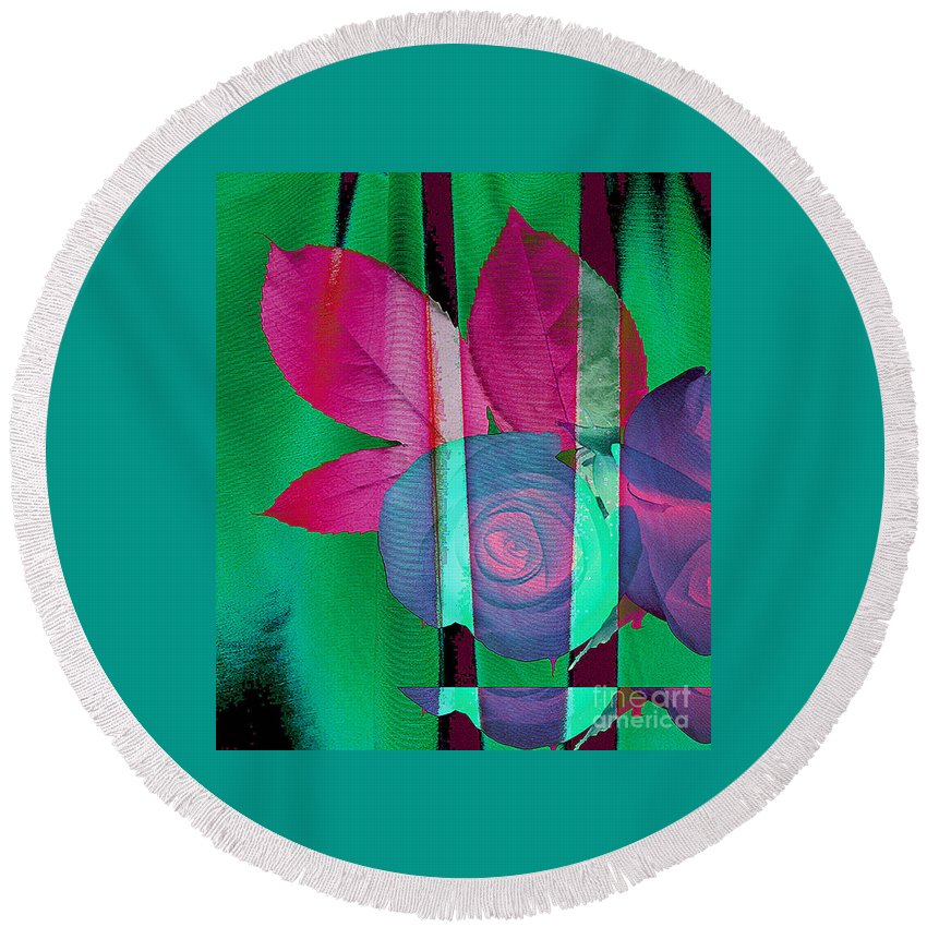 Digital Art Image Round Beach Towel featuring the digital art Exotic by Yael VanGruber