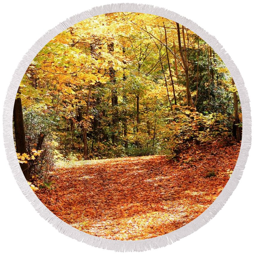 Mccombie Round Beach Towel featuring the photograph Fall Foliage by J McCombie