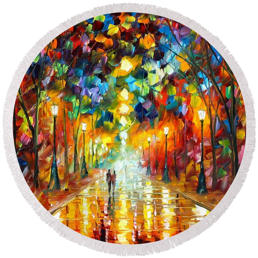 Afremov Round Beach Towel featuring the painting Farewell To Anger by Leonid Afremov