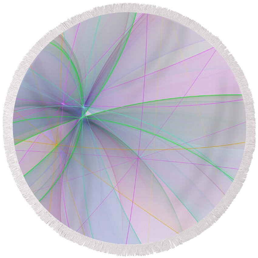 Digital Art Round Beach Towel featuring the digital art Filigree by Gabiw Art