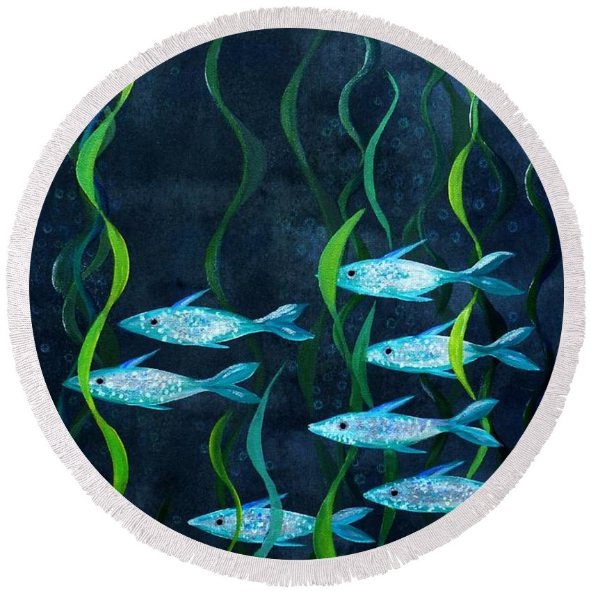 Fish Round Beach Towel featuring the painting Fish by Barbara Moignard