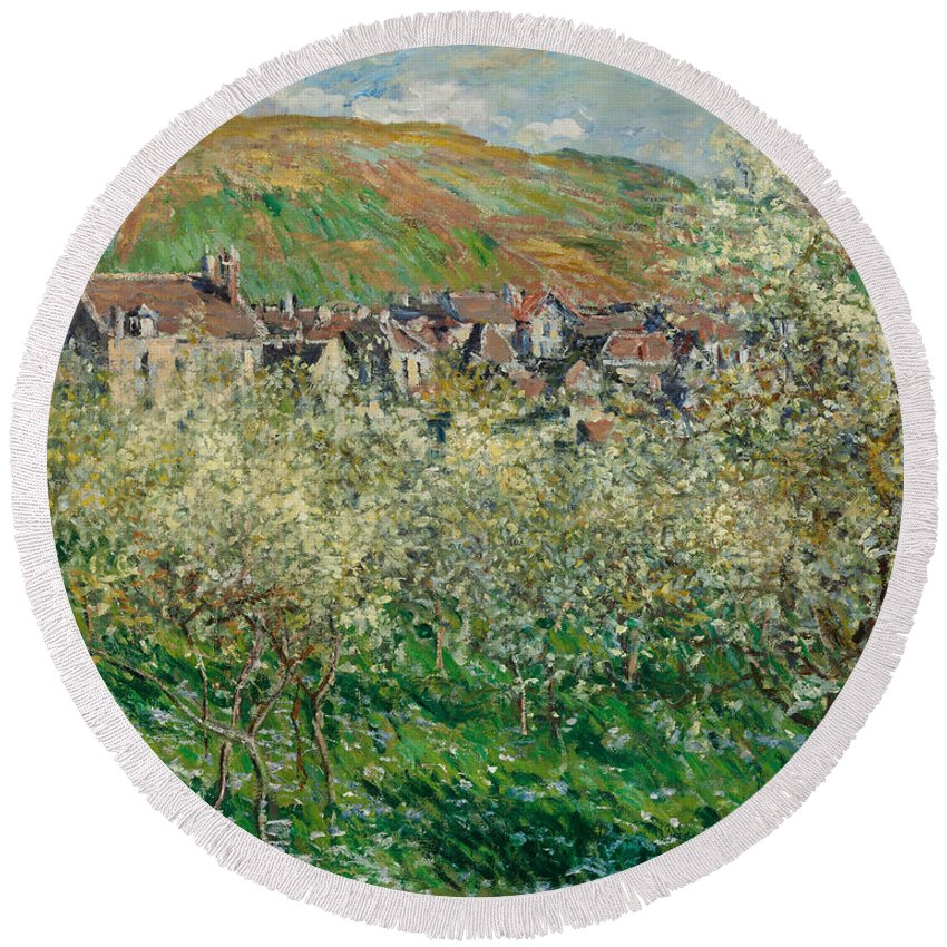 Claude Monet Round Beach Towel featuring the painting Flowering Plum Trees by Claude Monet