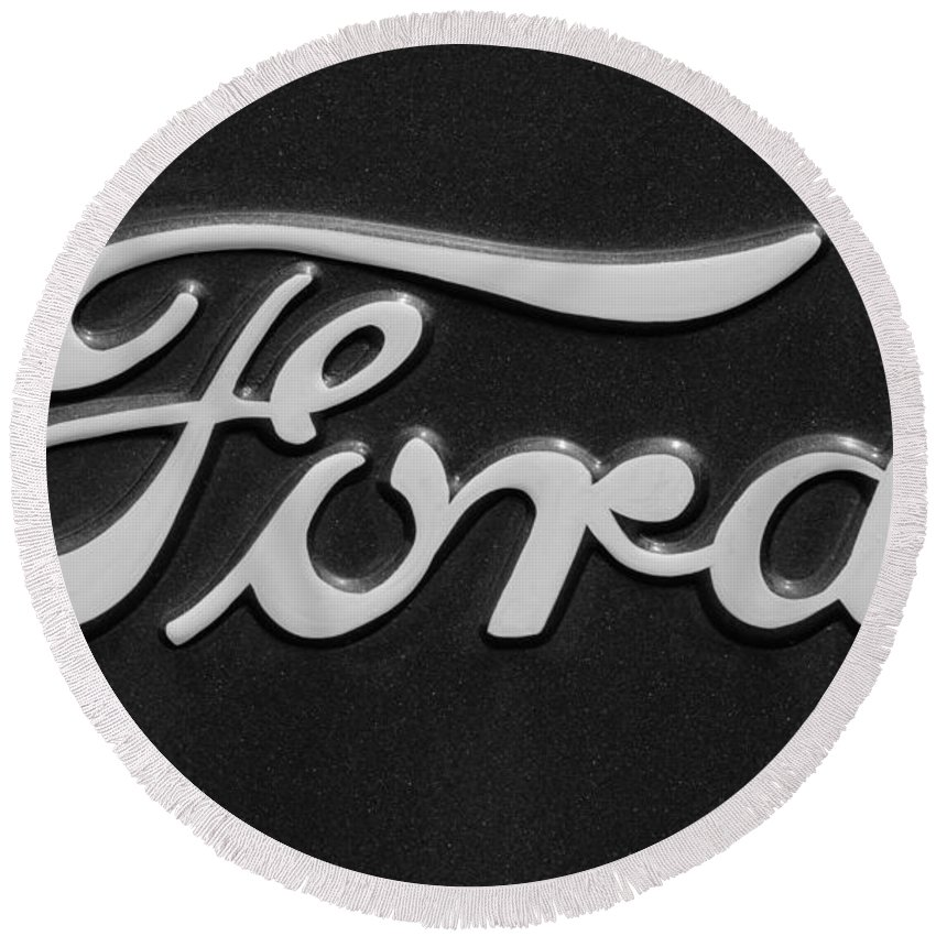 Ford Emblem Round Beach Towel featuring the photograph Ford Emblem by Jill Reger