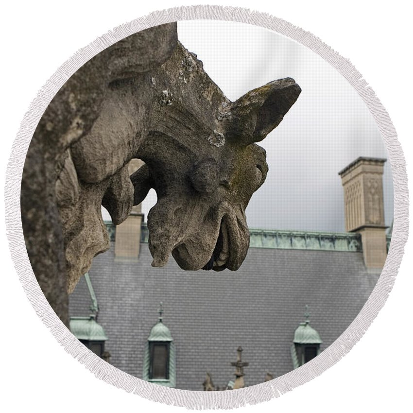 Biltmore Estate Round Beach Towel featuring the photograph Gargoyles On Roof Of Biltmore Estate by Jason O Watson