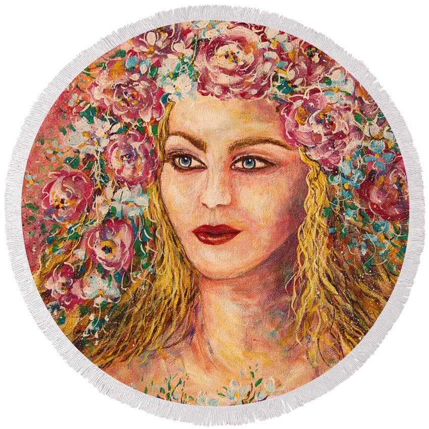 Goddess Round Beach Towel featuring the painting Good Fortune Goddess by Natalie Holland