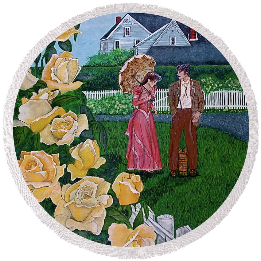 Picnic Round Beach Towel featuring the painting Grace Under The Parasol by Linda Simon