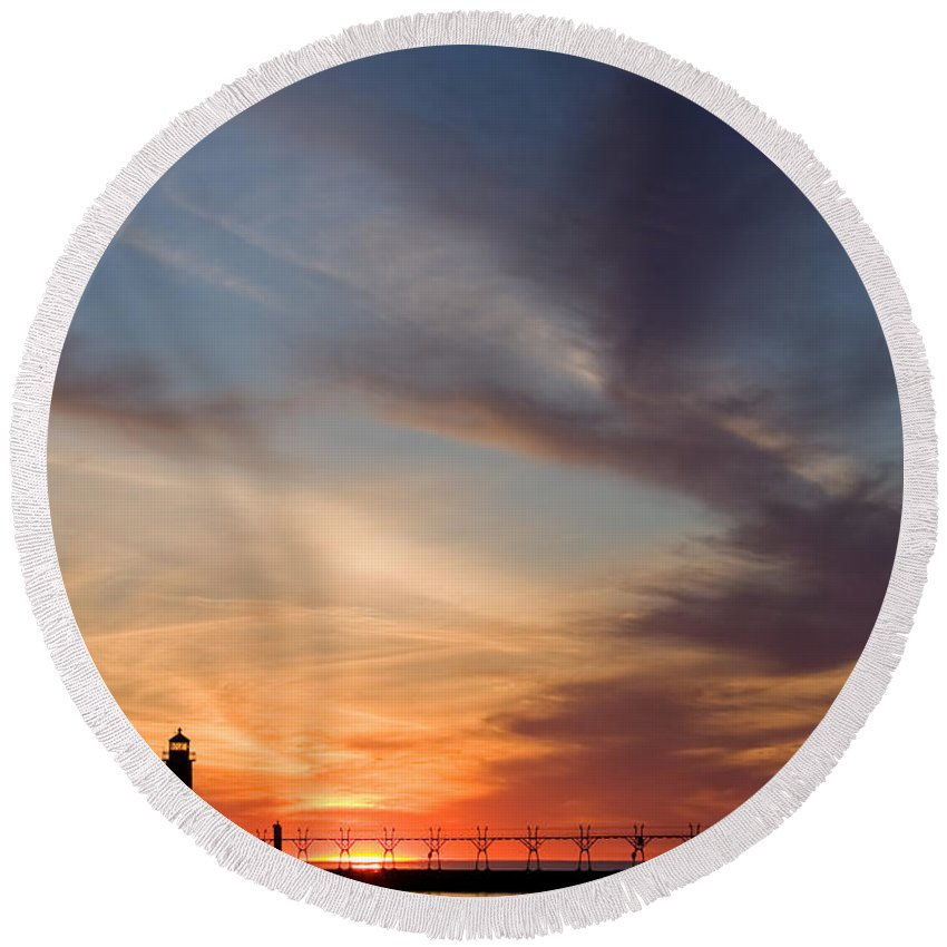 3scape Round Beach Towel featuring the photograph Grand Haven Lighthouse by Adam Romanowicz