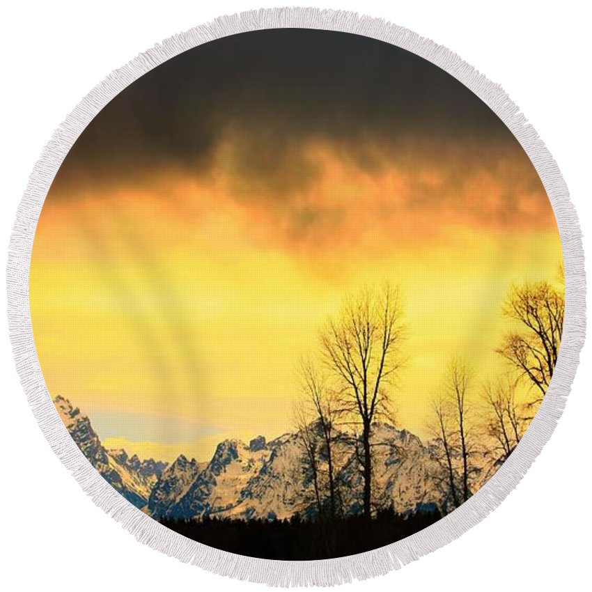 Grand Teton National Park Round Beach Towel featuring the photograph Grand Tetons Wyoming by Amanda Stadther