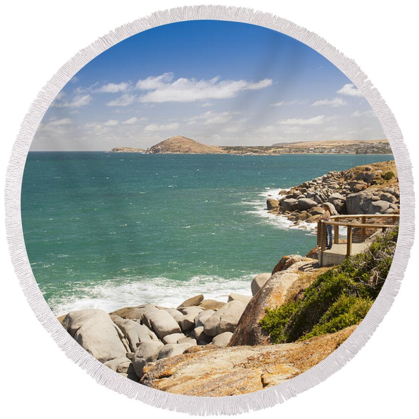 South Australia Round Beach Towel featuring the photograph Granite Island by Tim Hester