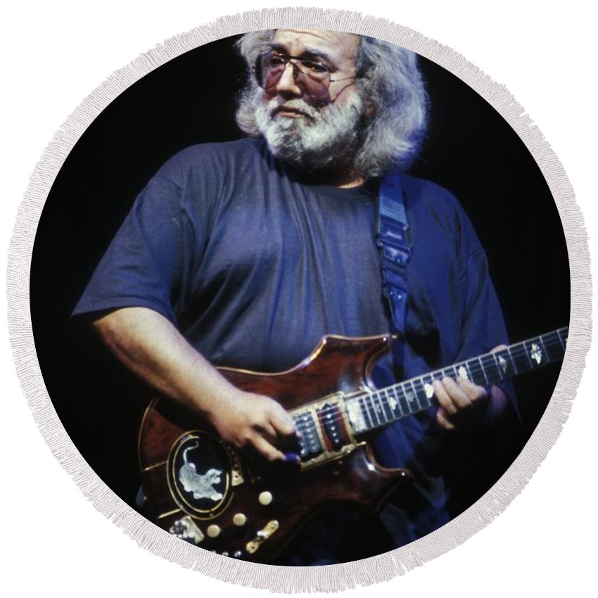 Concert Round Beach Towel featuring the photograph Grateful Dead - Jerry Garcia 2 by Concert Photos