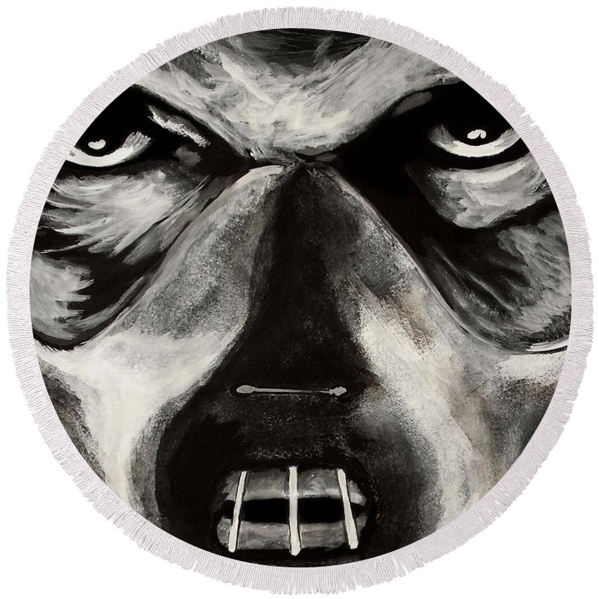 Hannibal Round Beach Towel featuring the painting Hannibal by Dale Loos Jr