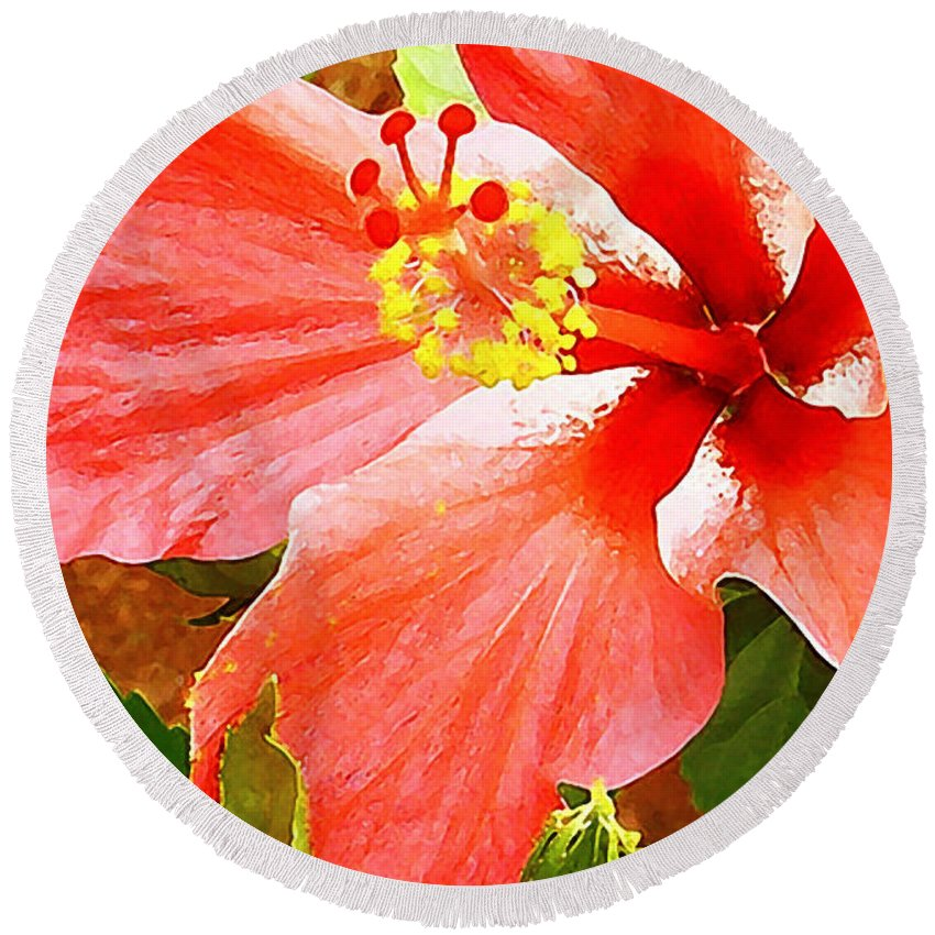 Hibiscus Round Beach Towel featuring the photograph Happy Hibiscus by James Temple
