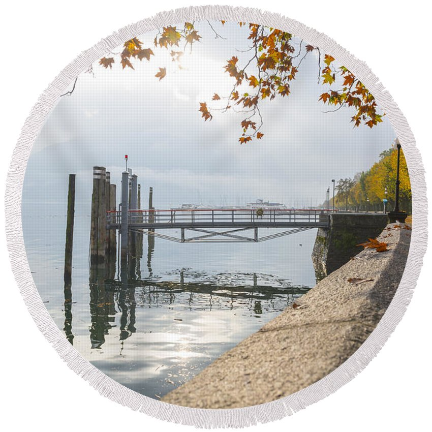 Lake Round Beach Towel featuring the photograph Harbor by Mats Silvan