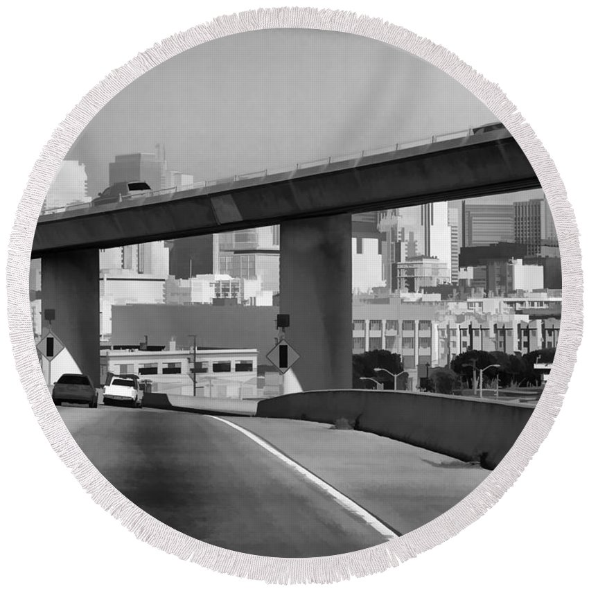 Cars Round Beach Towel featuring the photograph Heading Into The Busy Part Of San Francisco by Ashish Agarwal