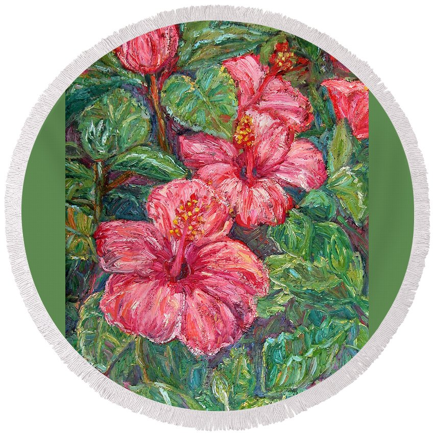 Hibiscus Round Beach Towel featuring the painting Hibiscus by Kendall Kessler