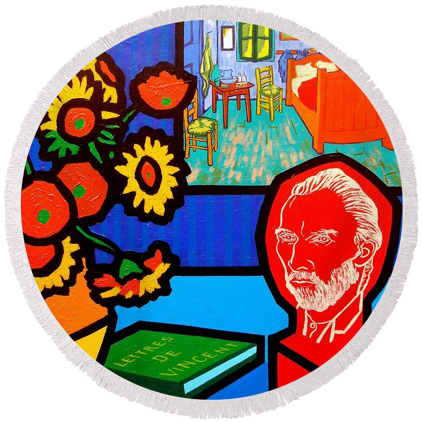 Van Gogh Round Beach Towel featuring the painting Homage To Vincent Van Gogh by John Nolan