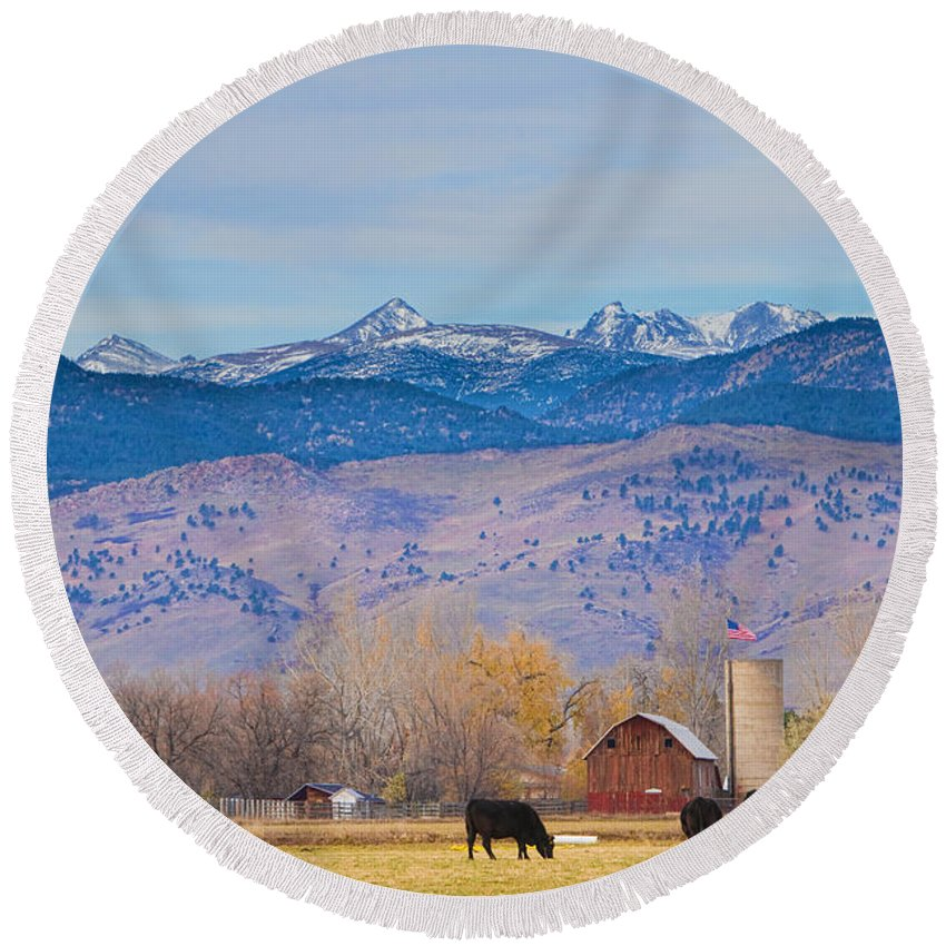'hot Air Balloon' Round Beach Towel featuring the photograph Hot Air Balloon Rocky Mountain Country View by James BO Insogna