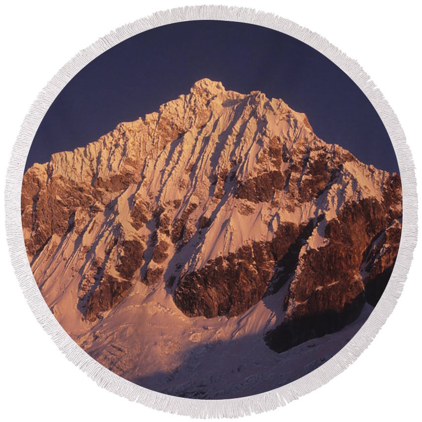 Peru Round Beach Towel featuring the photograph Mt Huandoy Sunrise Peru by James Brunker