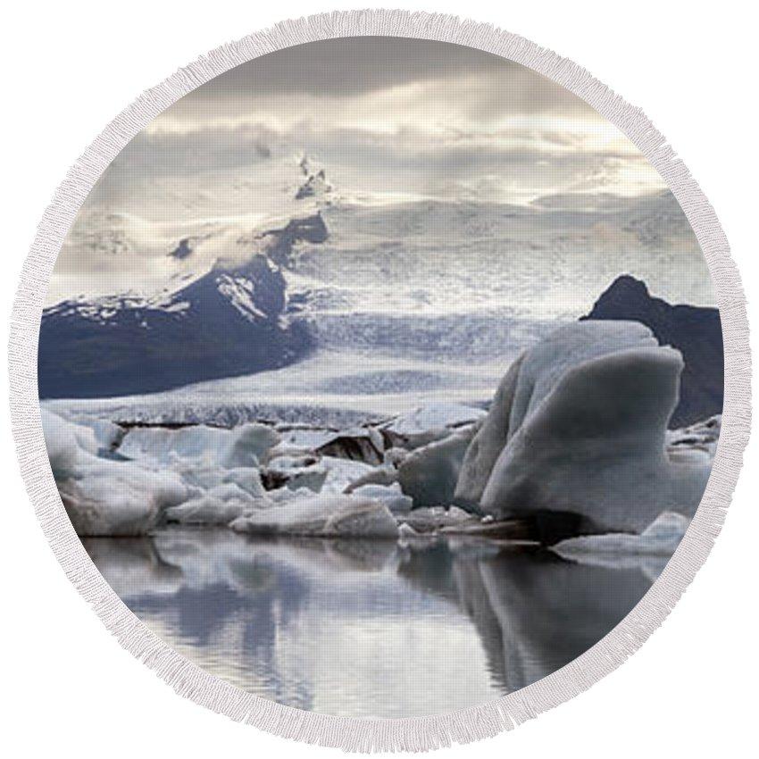 Iceland Round Beach Towel featuring the photograph iceland Jokulsarlon by Gunnar Orn Arnason