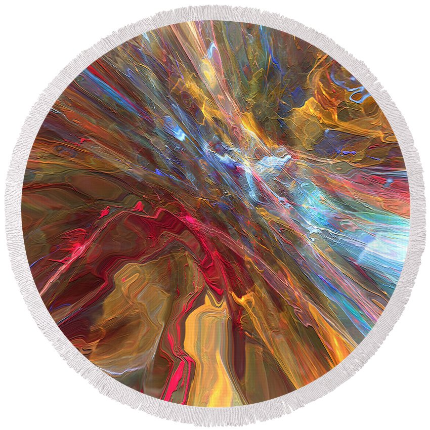 Hotel Art Round Beach Towel featuring the digital art If Blessings Were Colors by Margie Chapman
