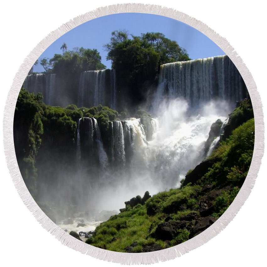 Waterfalls Round Beach Towel featuring the photograph Iguassu Falls by Barbie Corbett-Newmin