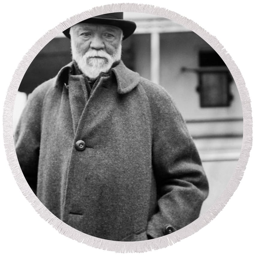 1912 Round Beach Towel featuring the photograph Industrialist Andrew Carnegie by Underwood Archives