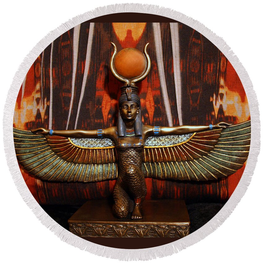 Isis Egyptian Goddess Round Beach Towel featuring the photograph Isis by Sheila Kay McIntyre