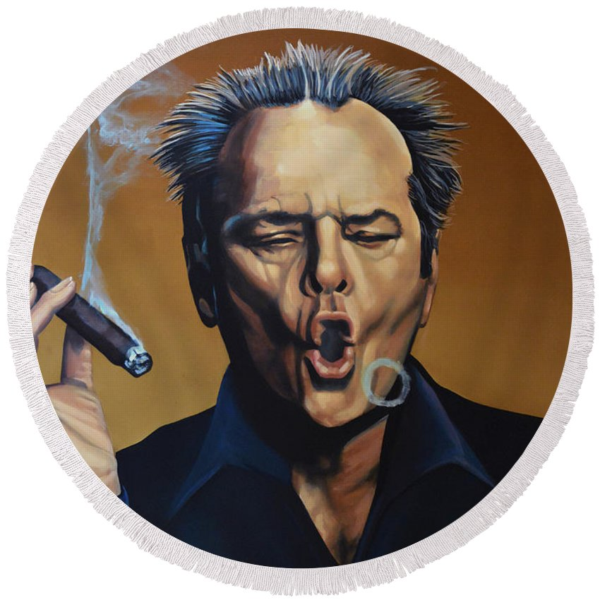Jack Nicholson Round Beach Towel featuring the painting Jack Nicholson Painting by Paul Meijering