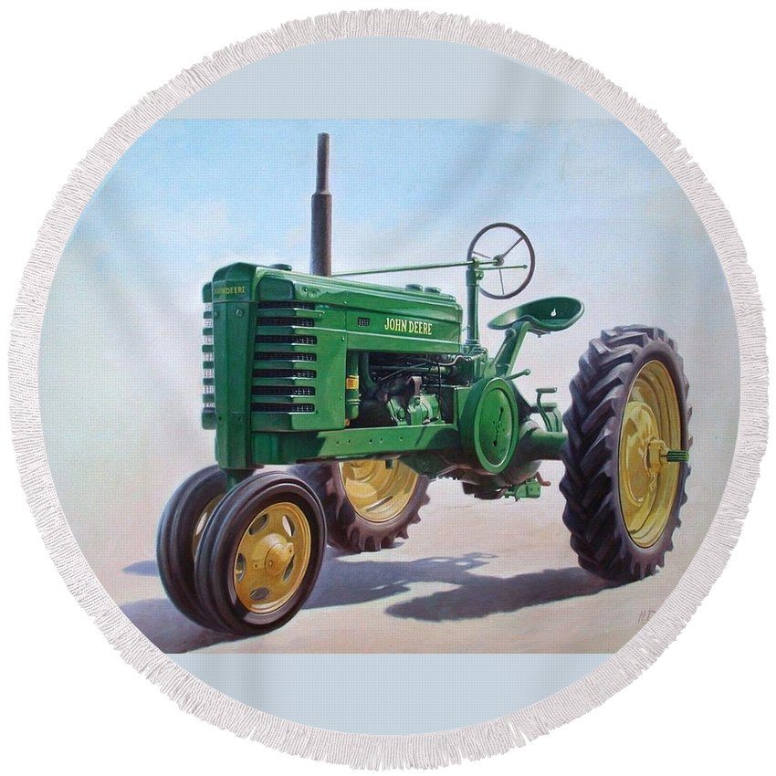 Tractor Round Beach Towel featuring the painting John Deere Tractor by Hans Droog