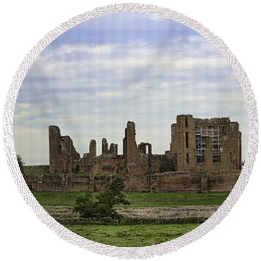 England Round Beach Towel featuring the photograph Kenilworth Castle Panorama by Dan McManus