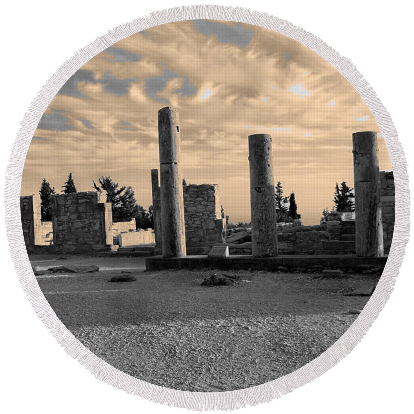 Ancient Round Beach Towel featuring the photograph Kourion-temple Of Apollo by Augusta Stylianou